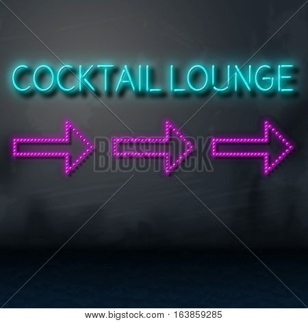 Cocktail Lounge Sign Directs To Cocktails Club