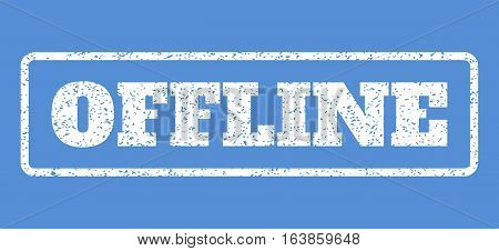 White rubber seal stamp with Offline text. Vector caption inside rounded rectangular banner. Grunge design and scratched texture for watermark labels. Horisontal emblem on a blue background.