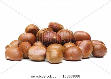 A pile of Chestnut isolated on white