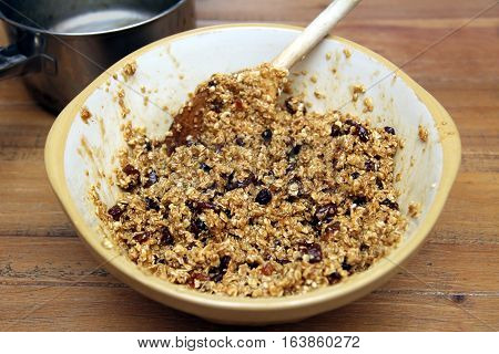Bowl Of Fruit Flapjack Mix, Ready To Go Into The Oven