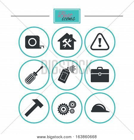 Repair, construction icons. Helmet, screwdriver and hammer signs. Gears, painting spray and attention symbols. Round flat buttons with icons. Vector