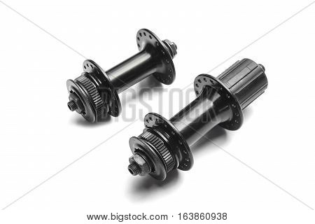 Bicycle hub for rear wheel isolated on white