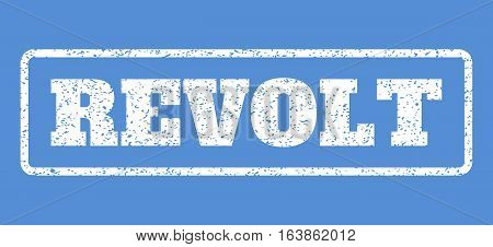 White rubber seal stamp with Revolt text. Vector message inside rounded rectangular banner. Grunge design and dust texture for watermark labels. Horisontal sign on a blue background.