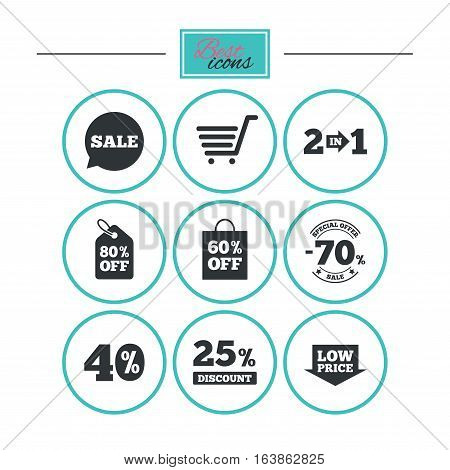 Sale discounts icon. Shopping cart, coupon and low price signs. 25, 40 and 60 percent off. Special offer symbols. Round flat buttons with icons. Vector