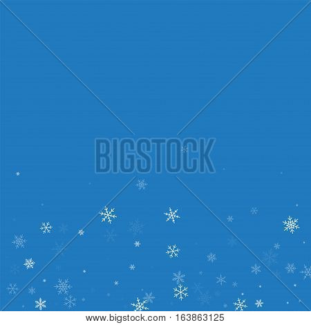 Sparse Snowfall. Scatter Bottom Gradient On Blue Background. Vector Illustration.