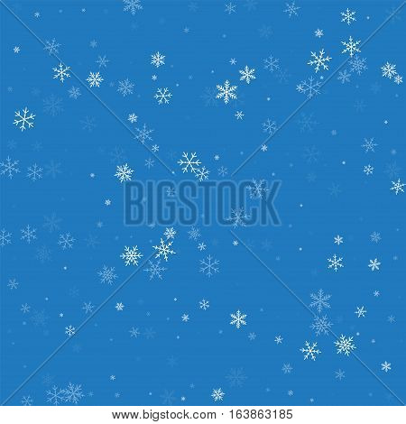 Sparse Snowfall. Chaotic Scatter Lines On Blue Background. Vector Illustration.