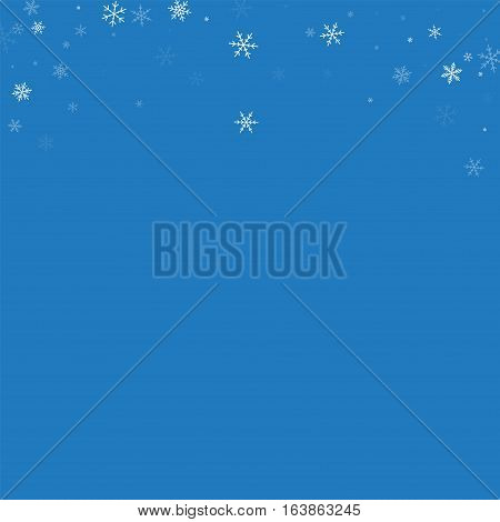 Sparse Snowfall. Abstract Top Border On Blue Background. Vector Illustration.