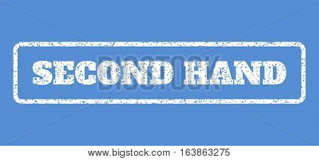 White rubber seal stamp with Second Hand text. Vector tag inside rounded rectangular frame. Grunge design and dust texture for watermark labels. Horisontal sign on a blue background.