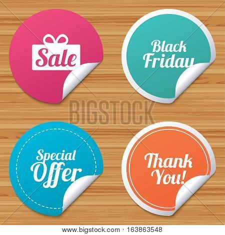 Round stickers or website banners. Sale icons. Special offer and thank you symbols. Gift box sign. Circle badges with bended corner. Vector