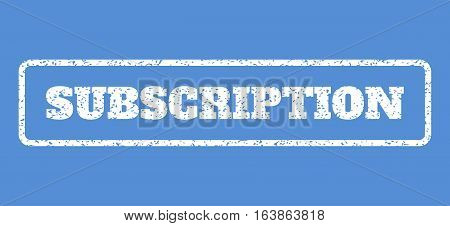 White rubber seal stamp with Subscription text. Vector caption inside rounded rectangular frame. Grunge design and dirty texture for watermark labels. Horisontal emblem on a blue background.