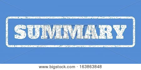 White rubber seal stamp with Summary text. Vector message inside rounded rectangular frame. Grunge design and dirty texture for watermark labels. Horisontal emblem on a blue background.