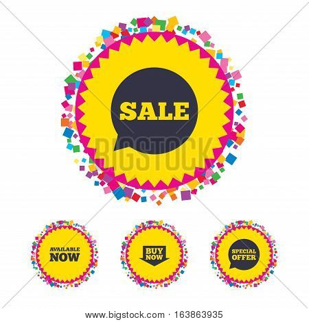 Web buttons with confetti pieces. Sale icons. Special offer speech bubbles symbols. Buy now arrow shopping signs. Available now. Bright stylish design. Vector