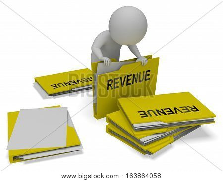 Revenue Folders Indicates Forecast Wage 3D Rendering