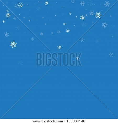 Sparse Snowfall. Scatter Top Gradient On Blue Background. Vector Illustration.