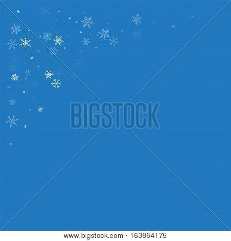 Sparse Snowfall. Top Left Corner On Blue Background. Vector Illustration.