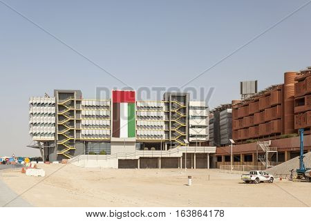 ABU DHABI - NOV 26 2016: View of the Masdar Institute of Science and Technology in Abu Dhabi United Arab Emirates