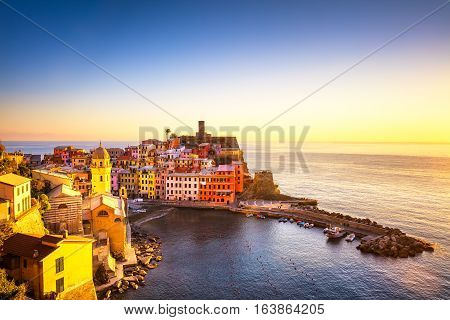 Vernazza village panoramic view on red sunset Seascape in Five lands Cinque Terre National Park Liguria Italy Europe.