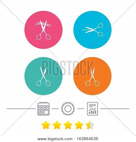 Scissors icons. Hairdresser or barbershop symbol. Scissors cut hair. Cut dash dotted line. Tailor symbol. Calendar, cogwheel and report linear icons. Star vote ranking. Vector