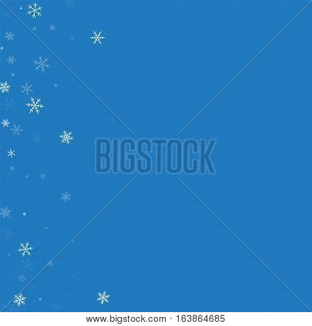 Sparse Snowfall. Abstract Left Border On Blue Background. Vector Illustration.