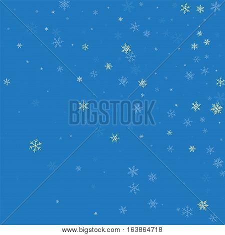 Sparse Snowfall. Random Gradient Scatter On Blue Background. Vector Illustration.