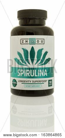 Winneconne WI - 3 January 2017: Bottle of Spirulina by Zhzou on an isolated background.