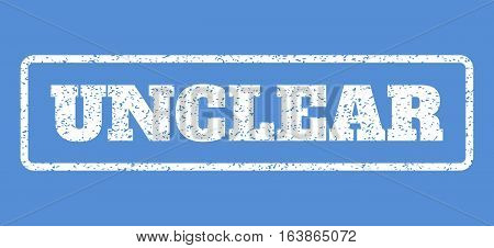 White rubber seal stamp with Unclear text. Vector tag inside rounded rectangular banner. Grunge design and scratched texture for watermark labels. Horisontal emblem on a blue background.