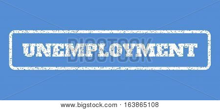 White rubber seal stamp with Unemployment text. Vector tag inside rounded rectangular shape. Grunge design and dirty texture for watermark labels. Horisontal emblem on a blue background.