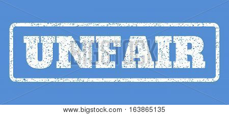 White rubber seal stamp with Unfair text. Vector caption inside rounded rectangular shape. Grunge design and dirty texture for watermark labels. Horisontal emblem on a blue background.