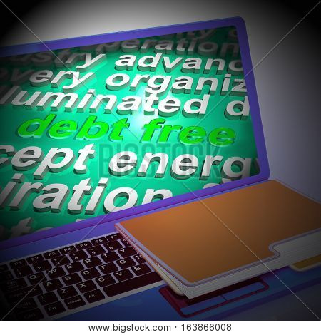 Debt Free Word Cloud Laptop Means Financial Freedom 3D Rendering