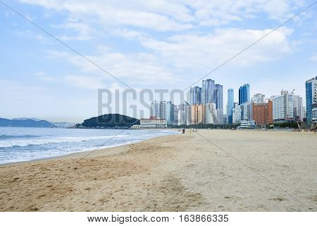 Busan Korea - April 29 2016: Landscape of Haeundae beach which is the most popular beach in South Korea with its easy accessibility from downtown and beautiful scenery.