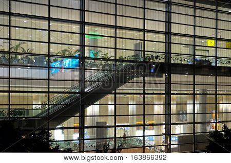 BEN GURION ISRAEL - AUGUST 23 2016: Arrival hall and registration area in the third terminal of the airport Ben Gurion