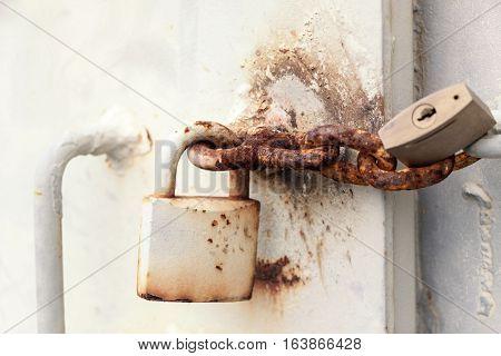 The Old steel door is locked , Vintage Style