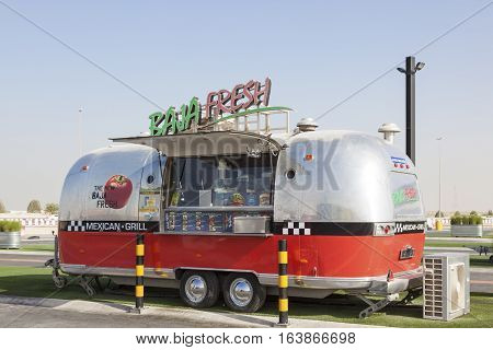 DUBAI UAE - NOV 27 2016: Airstream caravan food truck at the Last Exit food trucks park on the E11 highway between Abu Dhabi and Dubai