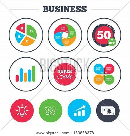 Business pie chart. Growth graph. Chart with arrow, brainstorm icons. Cash money and lamp idea signs. Scheme and Diagram symbol. Super sale and discount buttons. Vector