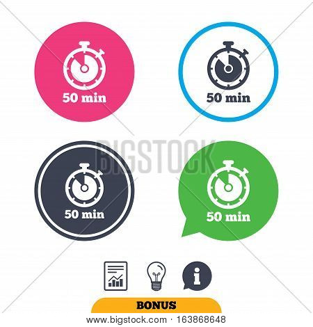 Timer sign icon. 50 minutes stopwatch symbol. Report document, information sign and light bulb icons. Vector