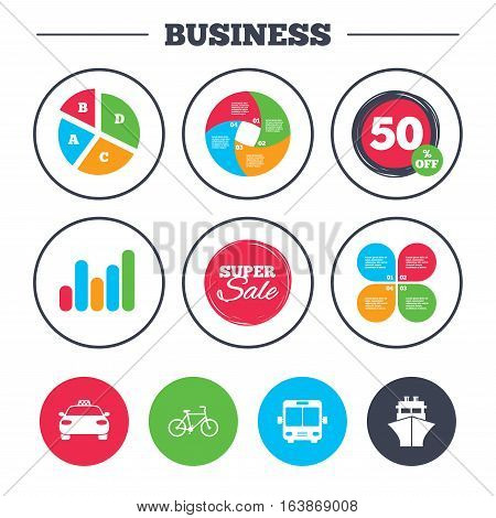 Business pie chart. Growth graph. Transport icons. Taxi car, Bicycle, Public bus and Ship signs. Shipping delivery symbol. Family vehicle sign. Super sale and discount buttons. Vector