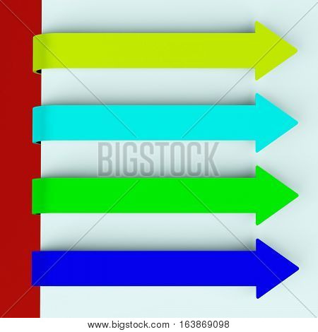 Four Multicolored Long Arrow Tabs Over Paper For Menu List 3D Rendering