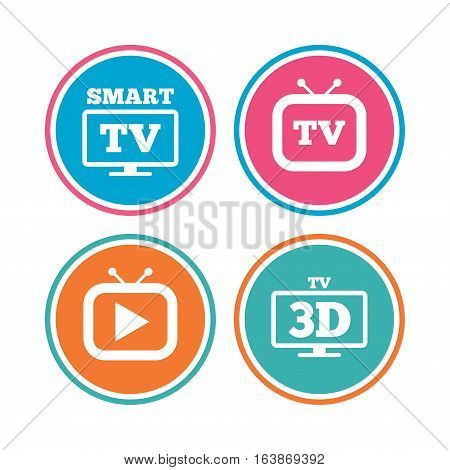 Smart 3D TV mode icon. Widescreen symbol. Retro television and TV table signs. Colored circle buttons. Vector