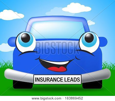 Insurance Leads Sign Representing Policy Prospects 3D Illustration