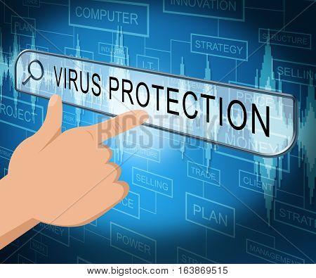 Virus Protection Shows Computer Antivirus 3D Illustration