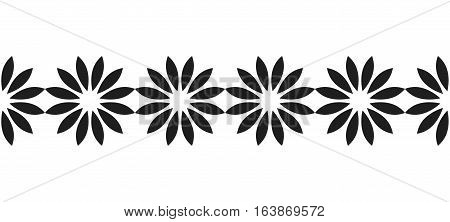 Decorative border of black silhouetted flowers for decoration, scrapbooking, greeting cards. Vector illustration