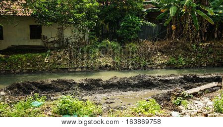 River with mud photo taken in Semarang Indonesia java