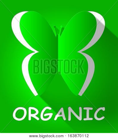 Organic Butterfly Shows Natural Product 3D Illustration
