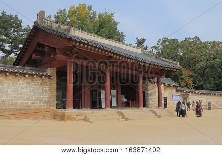 SEOUL SOUTH KOREA - OCTOBER 21, 2016: Unidentified people visit Jongmyo shrine. Jongmyo shrine is dedicated to the perpetuation of memorial services for deceased kings and queens of the Korea.