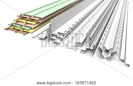 Panel siding and profiles on a white background (3d illustration).