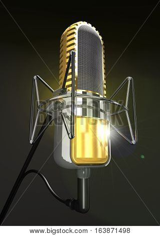 Professional microphone on the stand on a dark background (3d illustration).