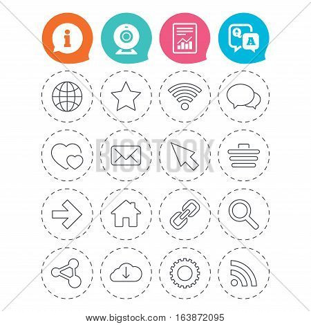 Internet and Web icons. Wi-fi network, favorite star and internet globe. Hearts, shopping cart and speech bubbles. Share, rss and link symbols. Information, question and answer icons. Vector