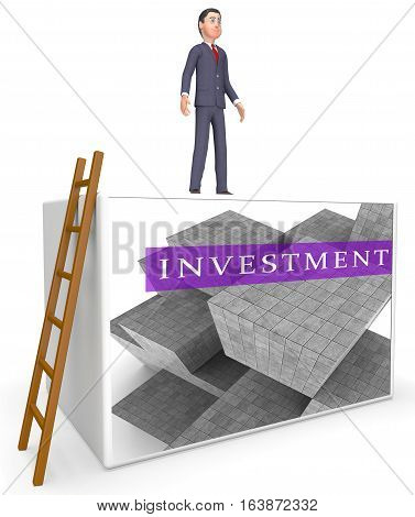 Invest Blocks Indicating Return On Investment 3D Rendering