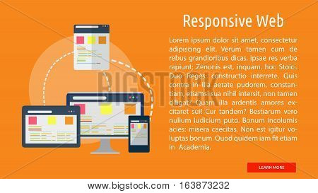 Responsive Web Conceptual Banner | Great flat icons with style long shadow icon and use for web, development, concept, marketing and much more.
