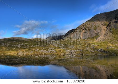 cadair idris mountain range in snowdonia national park, wales landscape view
